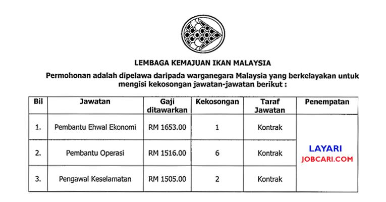 Jawatan Kosong di Lembaga Kemajuan Ikan Malaysia LKIM