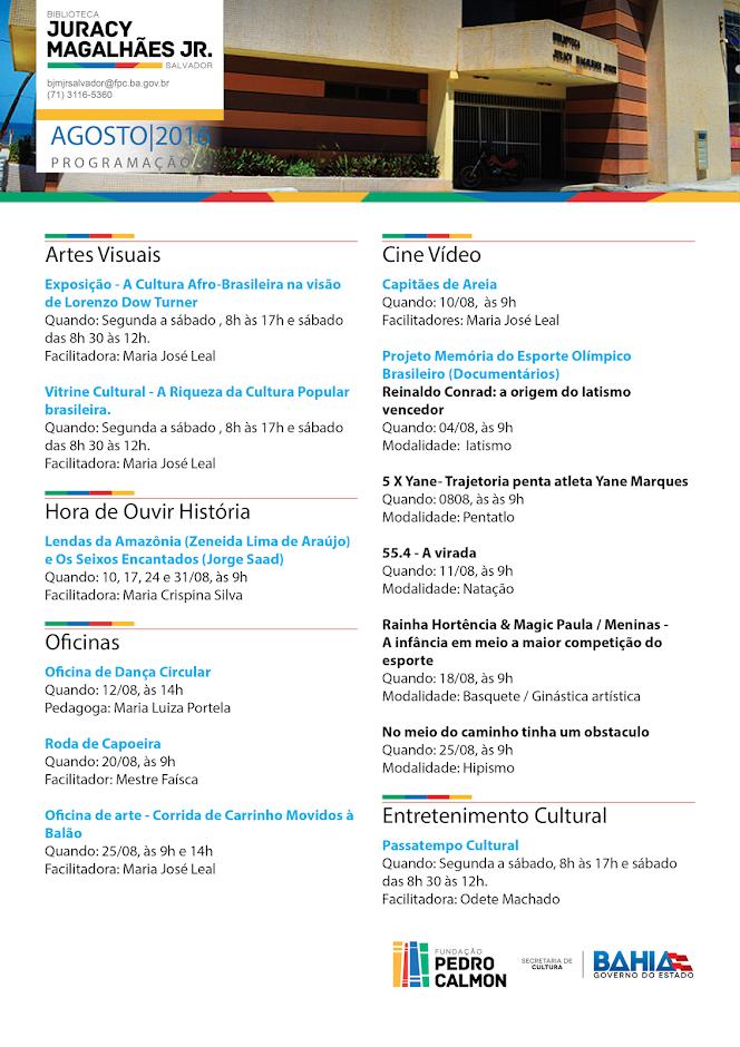 Programação de agosto da Biblioteca Juracy Magalhães Jr. Participe