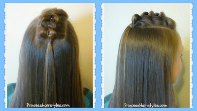 Half up pull-through braid tutorial