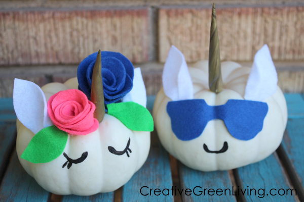 No-carve unicorn pumpkin craft with unicorn horn, flower crown and eyelashes