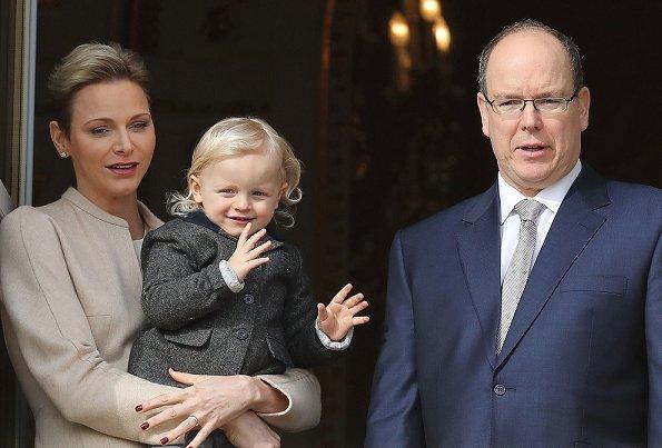 Princess Charlene Valentino leather boots, Akris dress, Dior pearl earrings