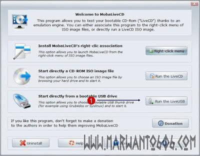 Cara Mengetes USB Bootable Flashdisk MobaLiveCD v2.1
