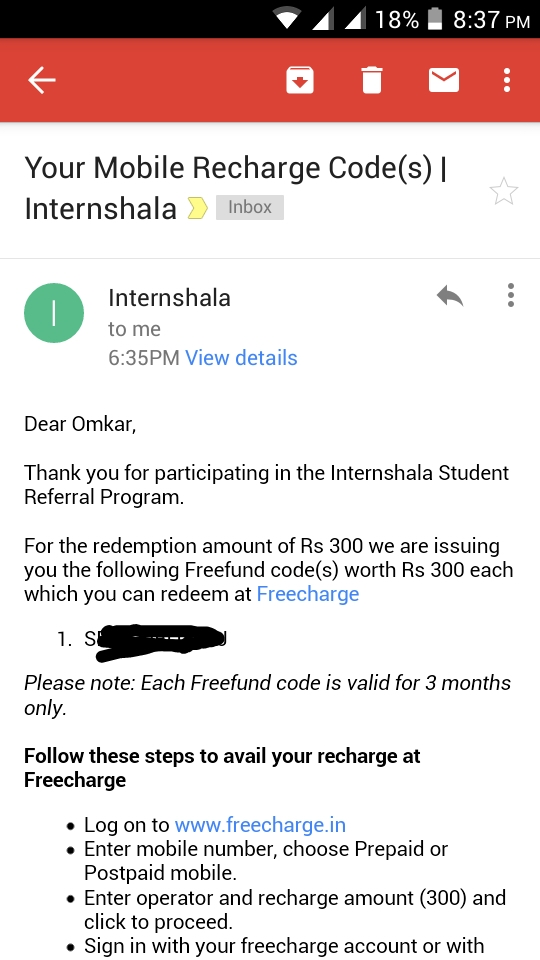Internshala account