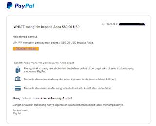 Bukti Dana dari Whaff ke PayPal