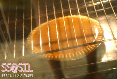 Healthy Pumpkin Pie Baking in Oven