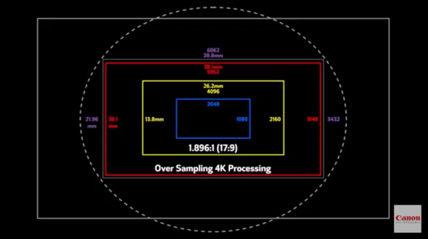 Избыточное разрешение для 4K при считывании сенсора в камере Canon C700 FF