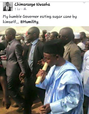 Gov. El-Rufai Spotted Showing Off His Humility by Chewing Sugarcane (Hilarious Photo)