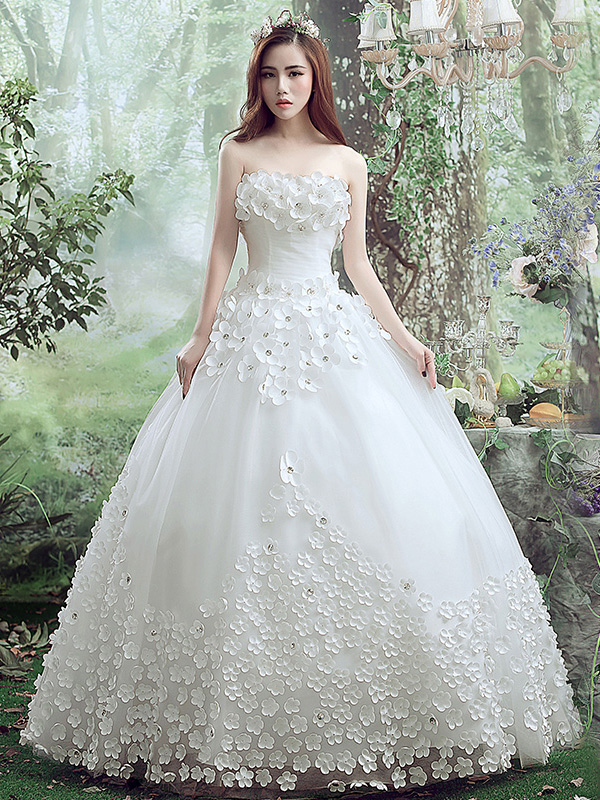 Stunning Strapless Beading Little Flowers Ball Gown Wedding