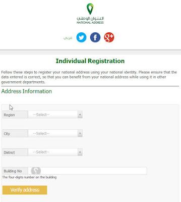 Individual Registration on National Address Website KSA