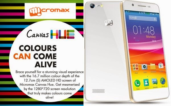 MicromaxCanvas Hue: 5 inch AMOLED HD,1.3 GHz Quad Core Android Phone Specs, Price