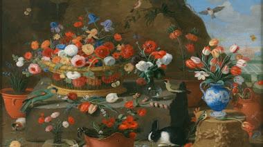 Bodegón con flores de primavera, aves y roedores