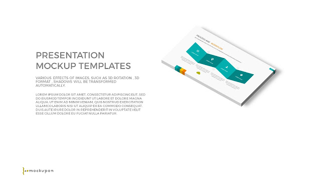 Free PowerPoint Template with 3D 1 Layered  Screen Mockups to the right