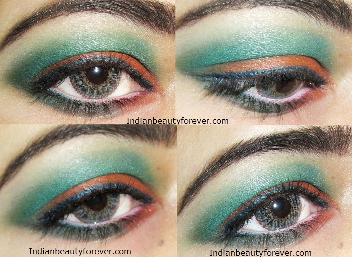 Eye makeup Orange and green step by step tutorial