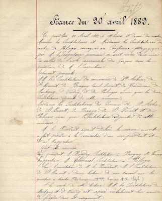 Registre des conférences pédagogiques de la circonscription de Montceau-les-Mines (extrait), 1882 (collection musée)