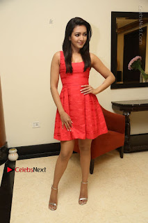 Actress Catherine Tresa Latest Pos in Red Short Dress at Intex Air Conditioners Launch  0038.jpg