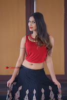 Telugu Actress Nishi Ganda Stills in Red Blouse and Black Skirt at Tik Tak Telugu Movie Audio Launch .COM 0291.JPG
