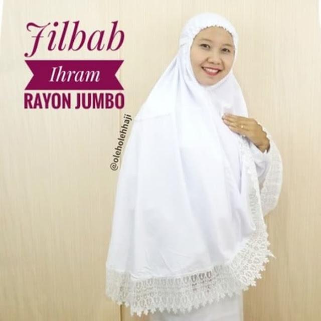 Jilbab Ihrom Rayon Jumbo, oleh oleh haji, perlengkapan haji dan umroh.
