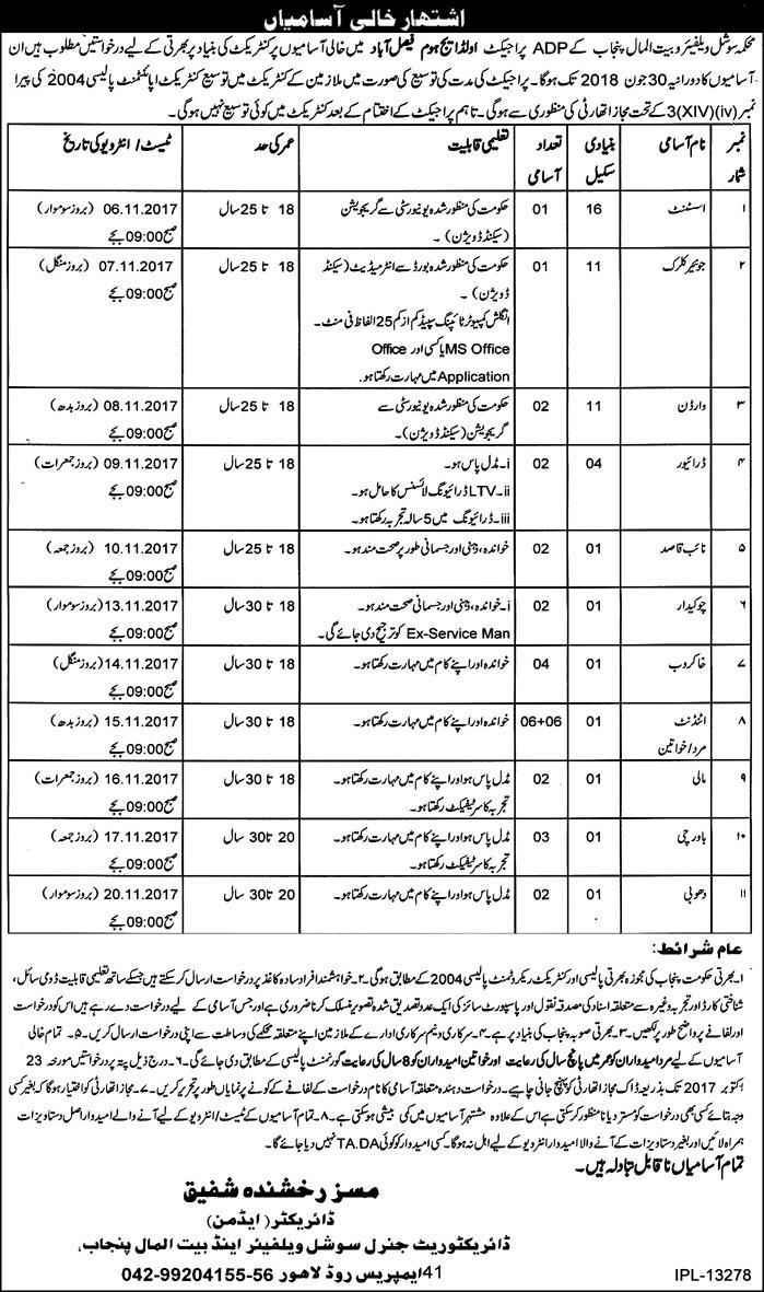 Jobs in Old H Home Faisalabad and And Bait ul Maal Department Punjab  11 Oct 2017