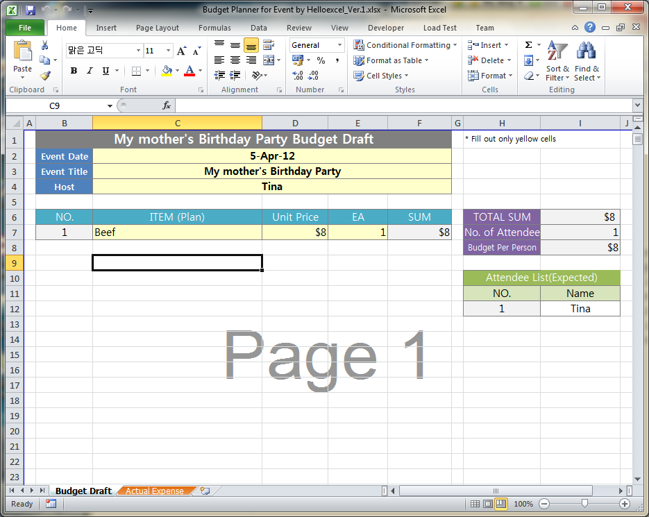 MS EXCEL PRACTICAL USES 03 Budget Calculator For Event Function