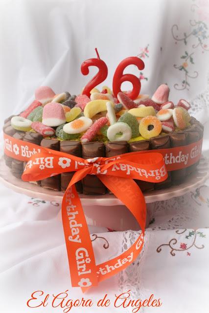tarta cumpleaños, chuches, Kinder Bueno
