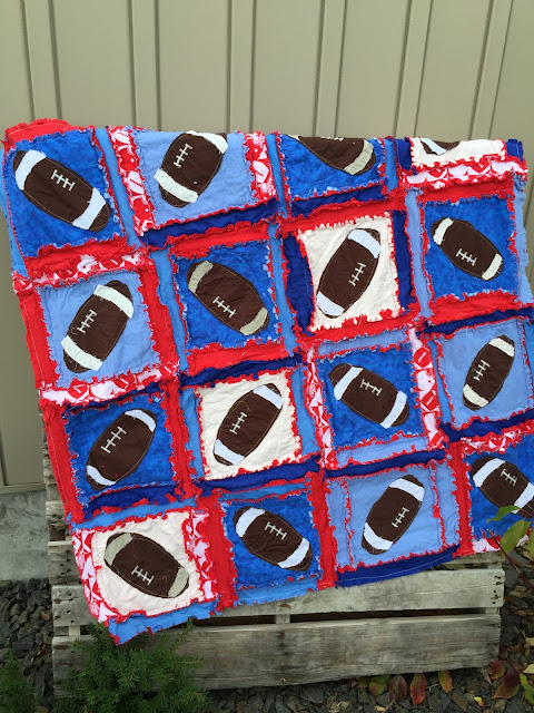 Red and blue football baby quilt by a vision to remember