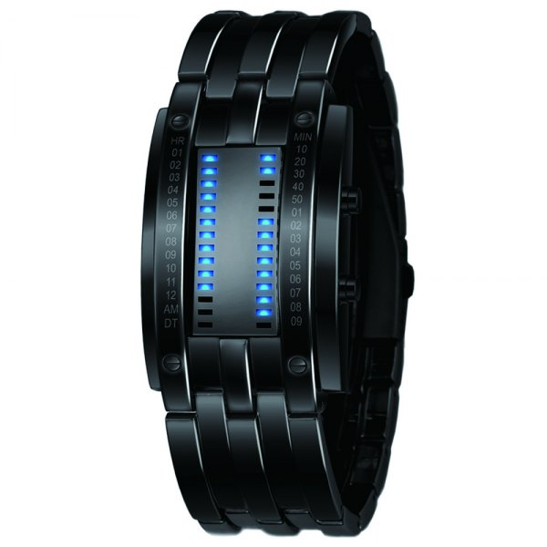 Luxury Unique Creativ Men Blue Binary Stainless Steel Digital Electronic Watches