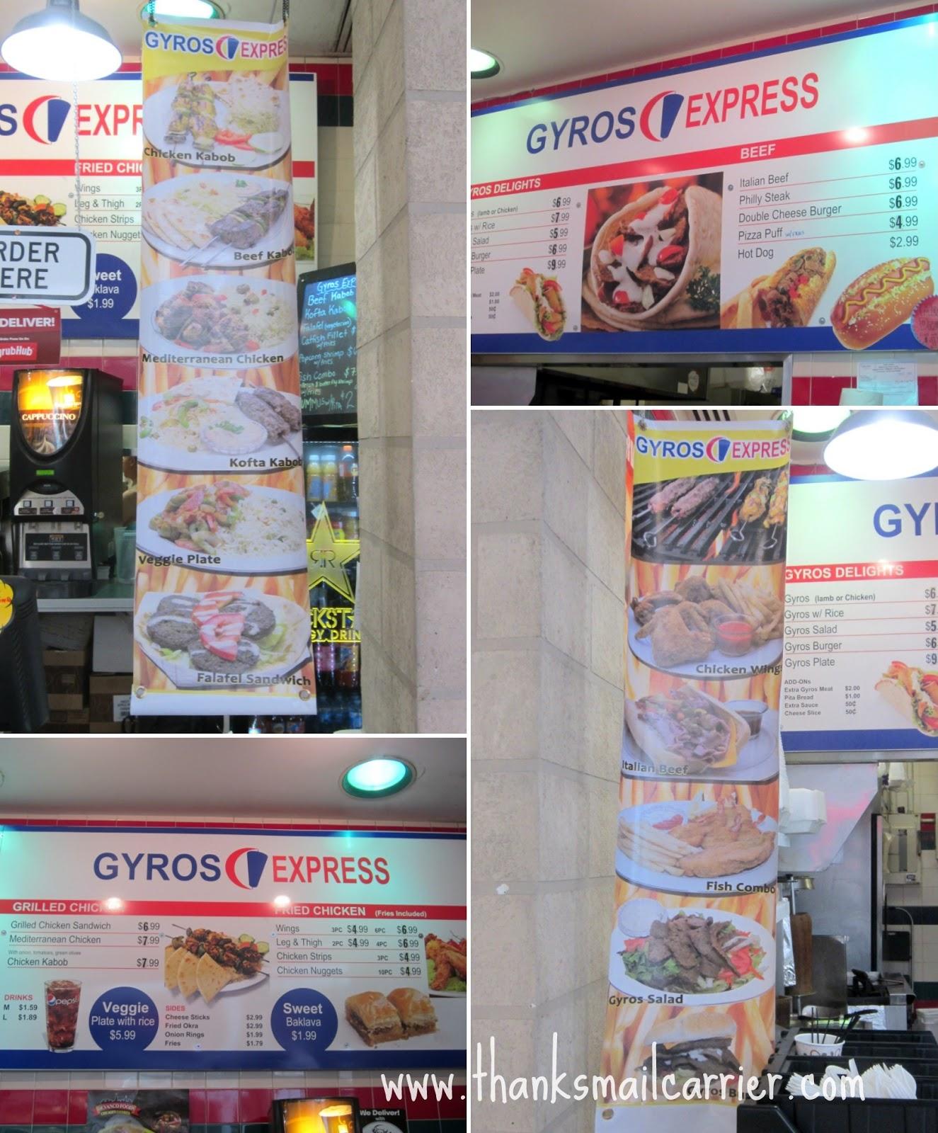 Gyros Express menu