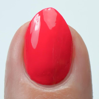 bright red nail polish swatch