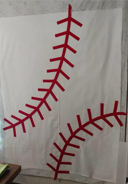 Making a baseball quilt using solid fabrics