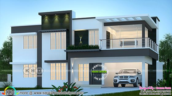Flat roof style modern house architecture rendering