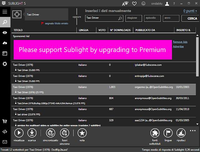 Interfaccia Sublight programma per scaricare sottotitoli