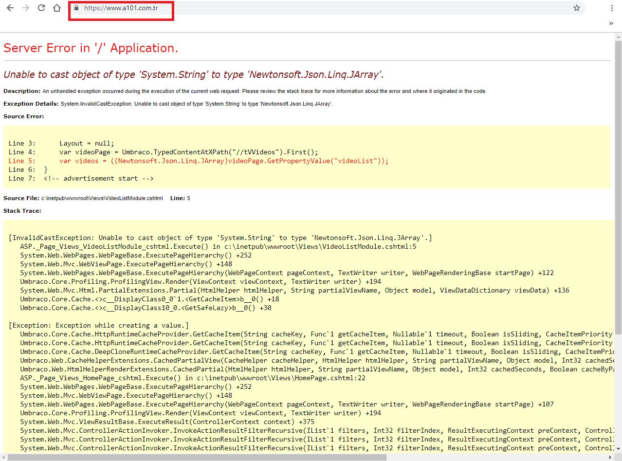 A101 sitesi sanırım çökmüş! - WEB Metince