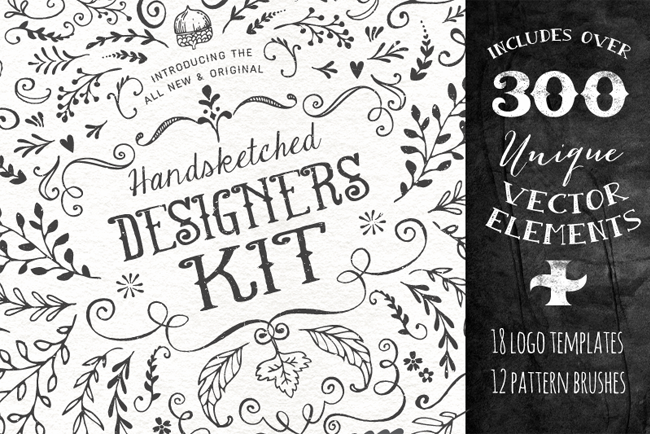 4 superbes packs de graphiques - The Handsketched Designers Kit par Nicky Laatz