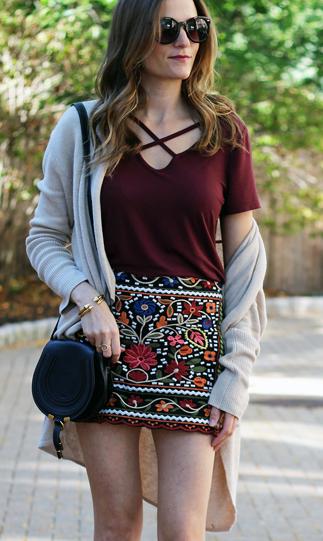 affordable embroidered skirt