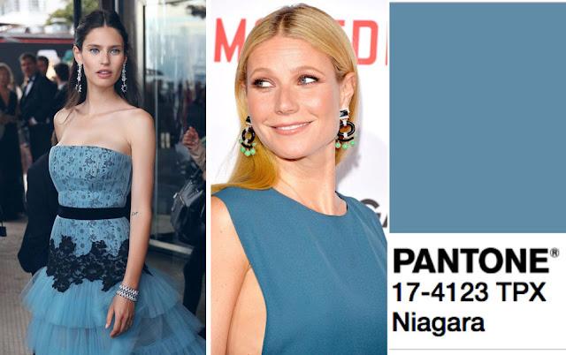 Цвет Pantone 2017 года Niagara на брюнетке и блондинке