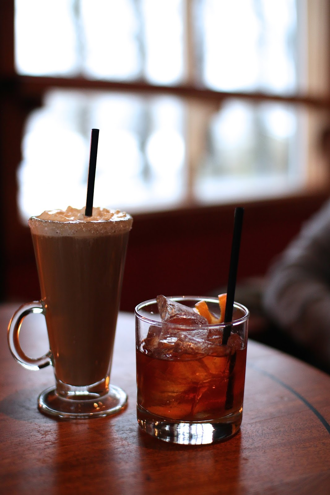 old fashioned cocktail and irish coffee