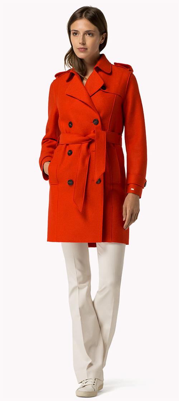 Manteau femme rouge en laine Tommy Hilfiger
