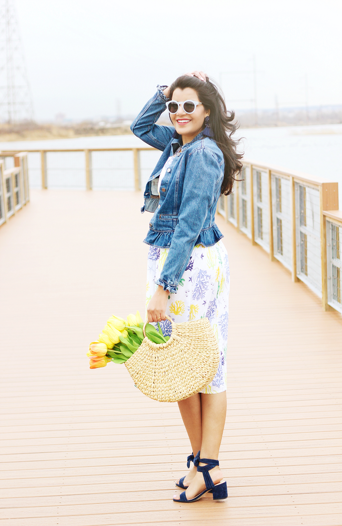eShakti cotton dress, fit and flare dress for Spring, How to wear denim jacket with dresses, Gap ruffle denim jacket, ruffle sleeve jacket, Zara straw bag, flowers in a bag photo style