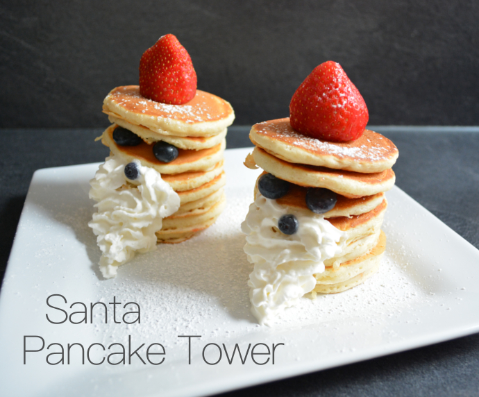 Santa Pancake Tower, Pancakes, Pancake, Pancake Tower, Christmas, Winter, Santa, recipe, Weihnachten, Weihnachtsmann, Strawberry