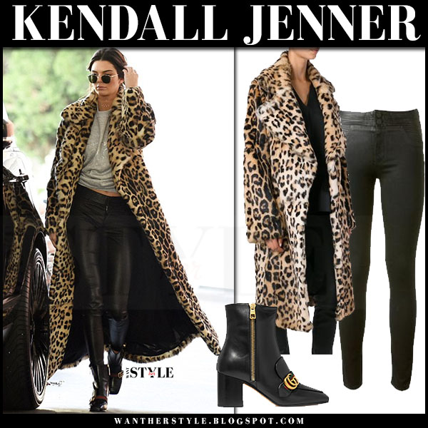 Kendall Jenner in leopard print coat plein sud, black pants and ankle boots gucci peyton what she wore