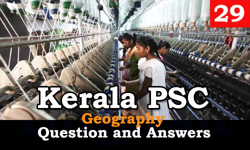 Kerala PSC Geography Question and Answers - 29