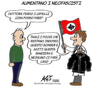 neofascismo, neofascisti, calvizie, perdere i capelli, umorismo, vignetta, satira