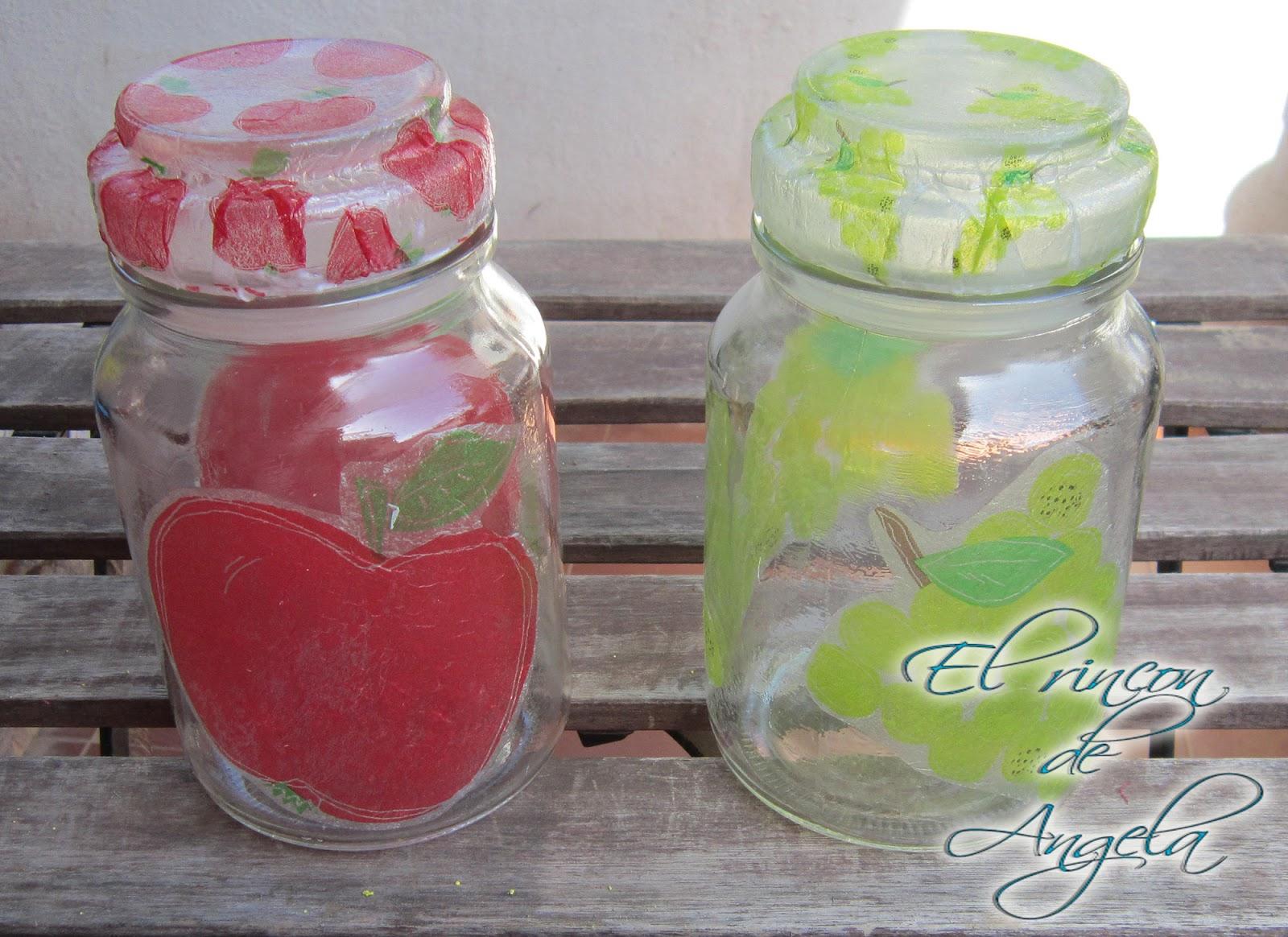 El rincon de angela decoupage decorar botes de cristal for Como decorar c
