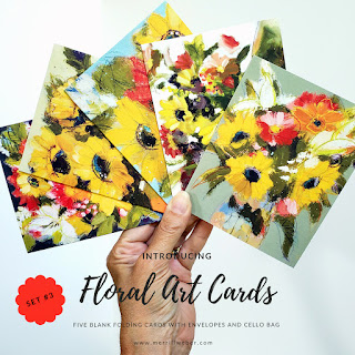 A set of five joy-filled floral art cards, featuring your favorite floral paintings by artist, Merrill Weber