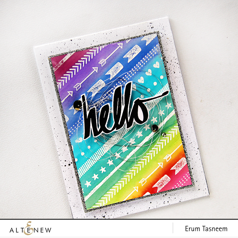@Altenew Superscript and Basic Borders stamp set water colored (Distress Stain) by @pr0digy0