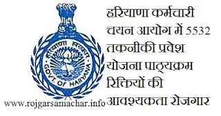 Haryana Staff Selection Commission 5532 Male & Female Constable ,rojgar samachar haryana