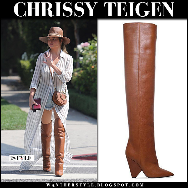 Chrissy Teigen in brown leather over the knee boots saint laurent niki and striped shirt dress at Bristol Farms september 30 2017 fall fashion trend