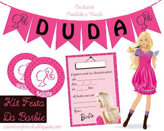 kit festa da barbie para imprimir convite calendario tag docinhos e bandeirinhas