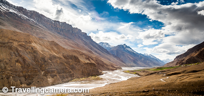 Above is the photograph of Spiti river flowing through high mountains of Spiti on both the sides and understanding the scale is more important here. Just notice is the man walking on the road. I am sure you can't even notice him, so imagine the grandness of these landscapes. After a week in Spiti, I started loving these hues.