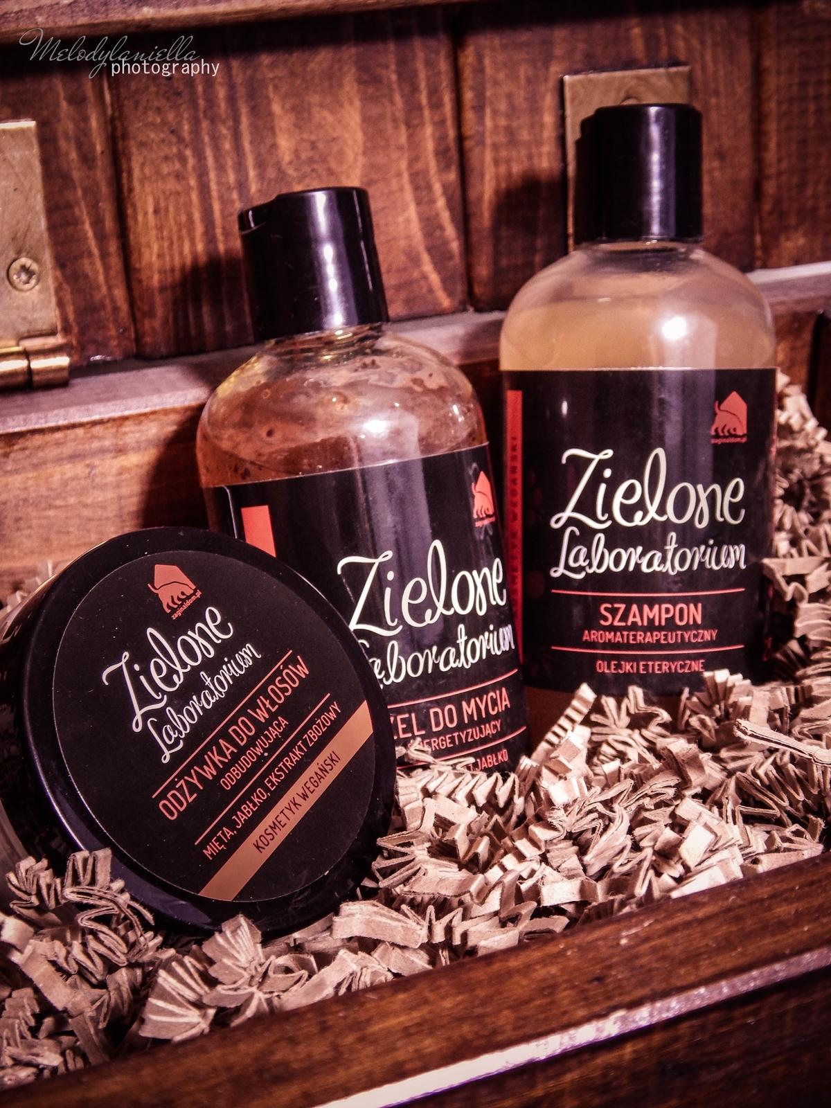 zielone laboratorium odżywka do włosów odbudowująca kosmetyki wegańskie żel do mycia szampon aromaterapeutyczny kosmetyki o mocnych zapachach olejki eteryczne kosmetyki naturalne polskie